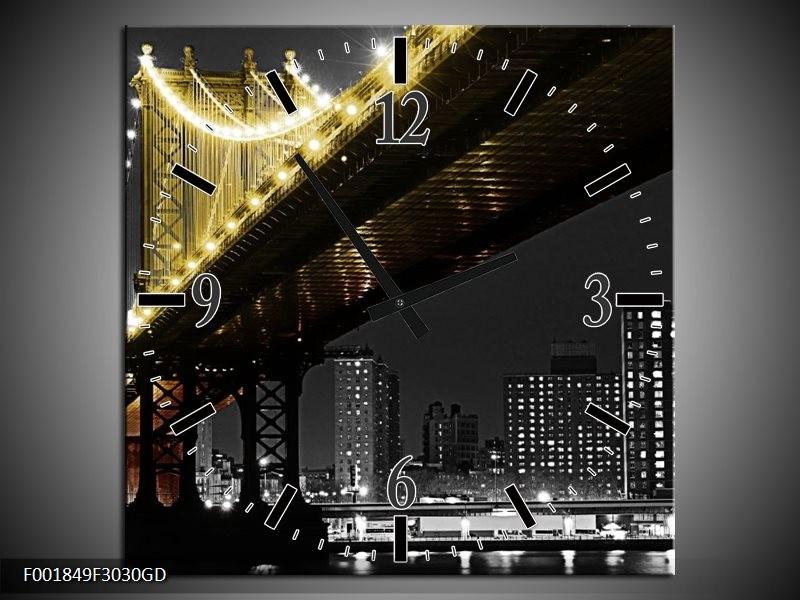Wandklok op Glas Brug | Kleur: Zwart, Wit, Geel | F001849CGD