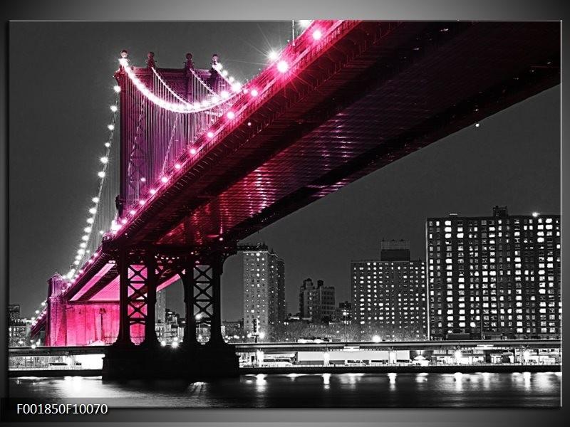 Foto canvas schilderij Brug   Zwart, Wit, Roze