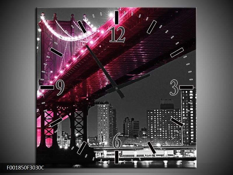 Wandklok op Canvas Brug | Kleur: Zwart, Wit, Roze | F001850C