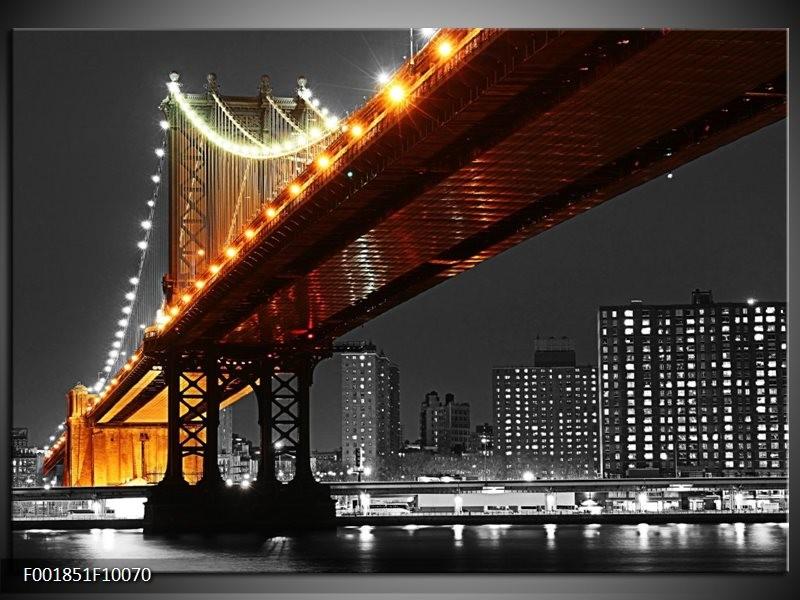Foto canvas schilderij Brug | Zwart, Wit, Oranje