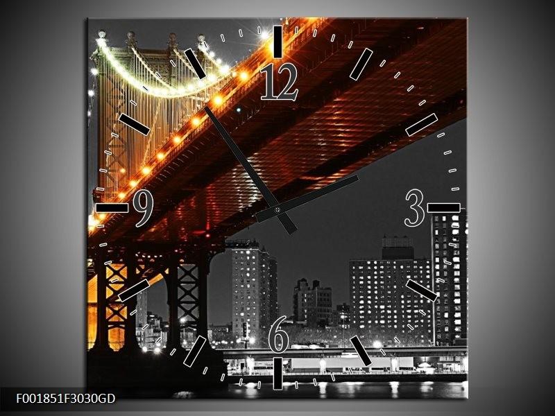 Wandklok op Glas Brug | Kleur: Zwart, Wit, Oranje | F001851CGD