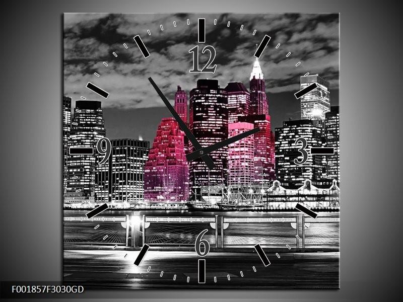 Wandklok op Glas New York | Kleur: Zwart, Wit, Roze | F001857CGD