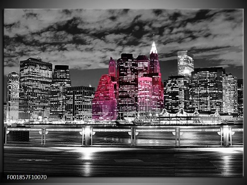 Glas schilderij New York | Zwart, Wit, Roze