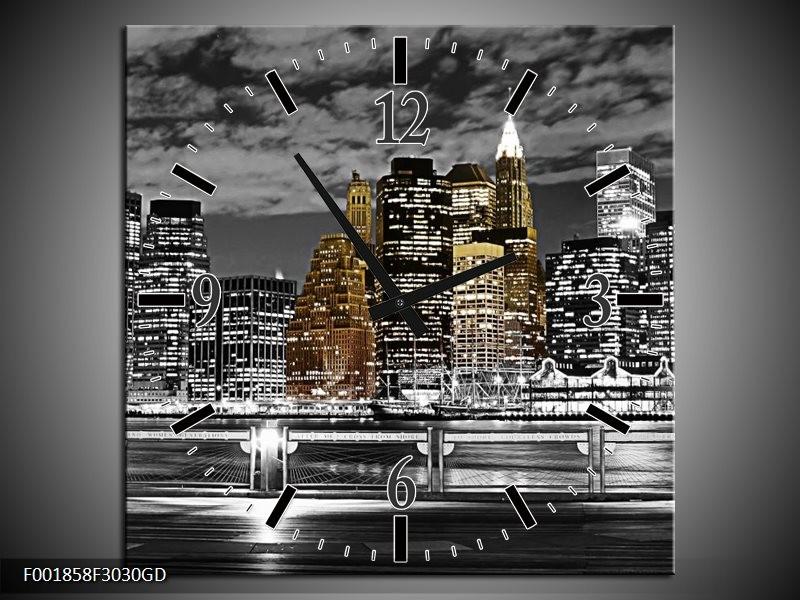 Wandklok op Glas New York | Kleur: Zwart, Wit, Geel | F001858CGD
