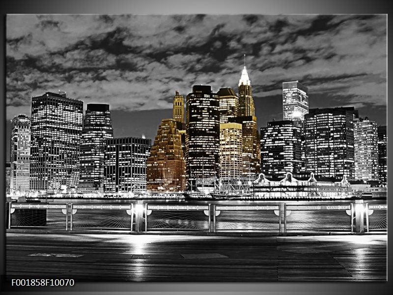 Glas schilderij New York | Zwart, Wit, Geel