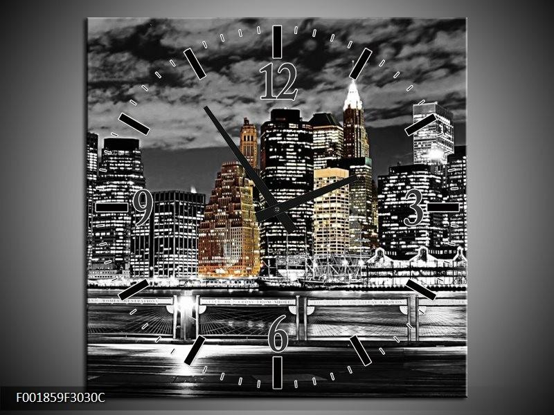 Wandklok op Canvas New York | Kleur: Zwart, Wit, Geel | F001859C