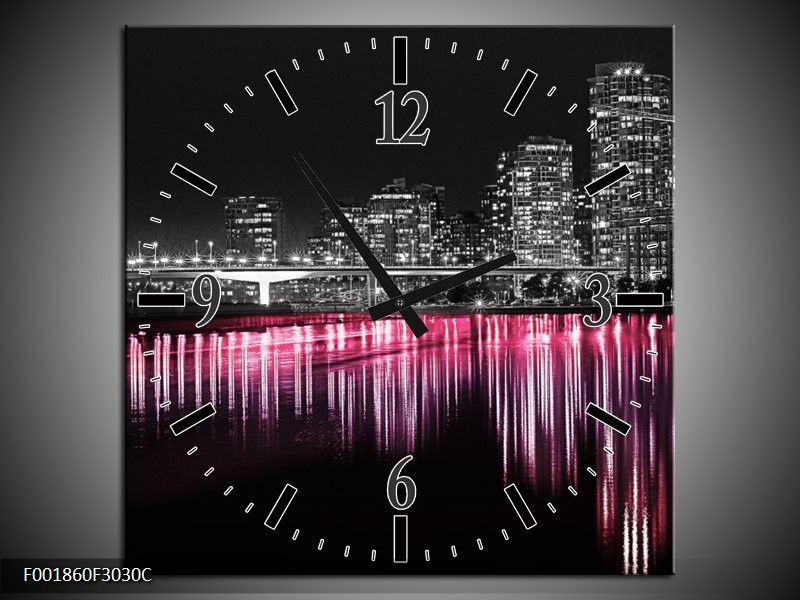 Wandklok op Canvas New York | Kleur: Zwart, Wit, Roze | F001860C