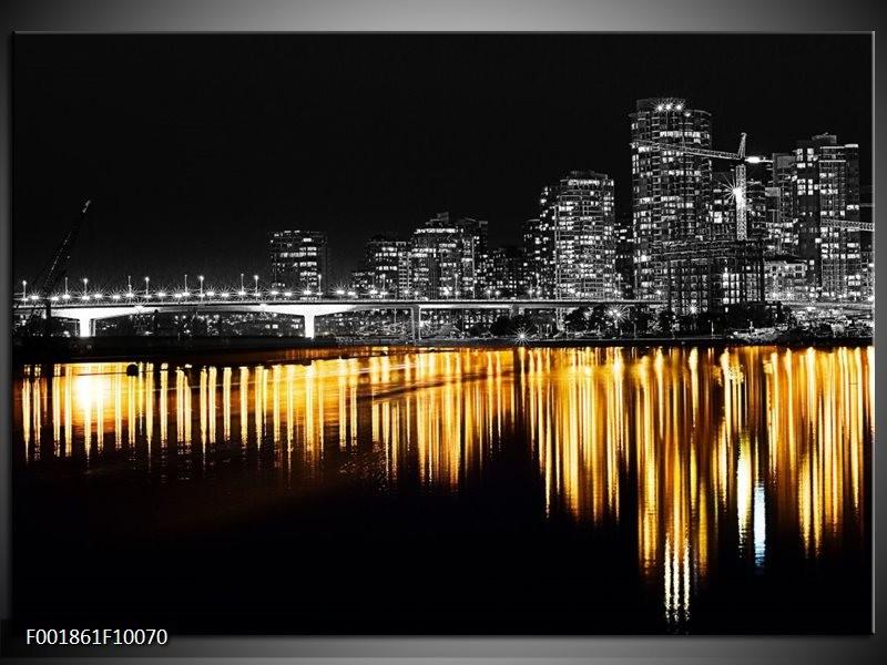 Foto canvas schilderij New York   Zwart, Wit, Geel