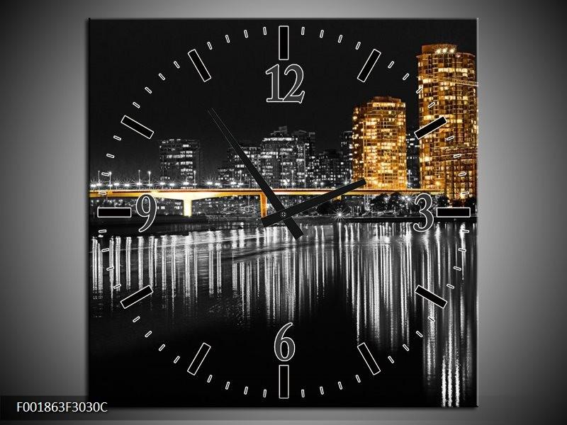 Wandklok op Canvas New York | Kleur: Zwart, Wit, Geel | F001863C