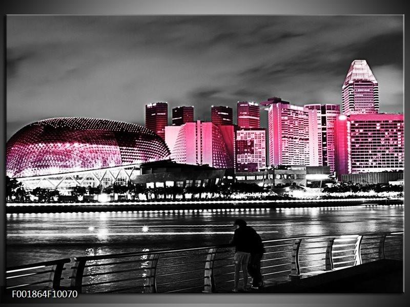 Glas schilderij Stad | Zwart, Wit, Roze