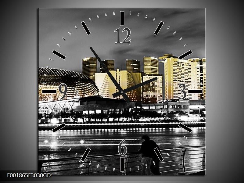 Wandklok op Glas Stad   Kleur: Zwart, Wit, Geel   F001865CGD