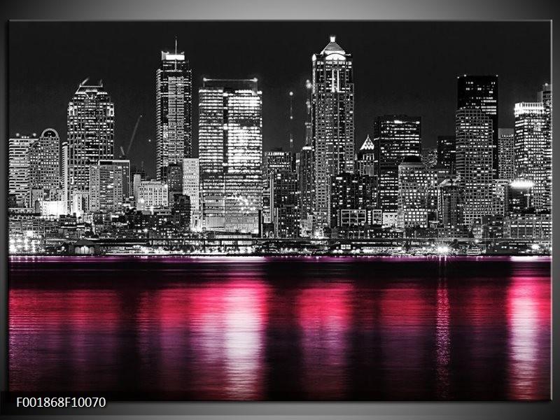 Foto canvas schilderij New York   Zwart, Wit, Roze