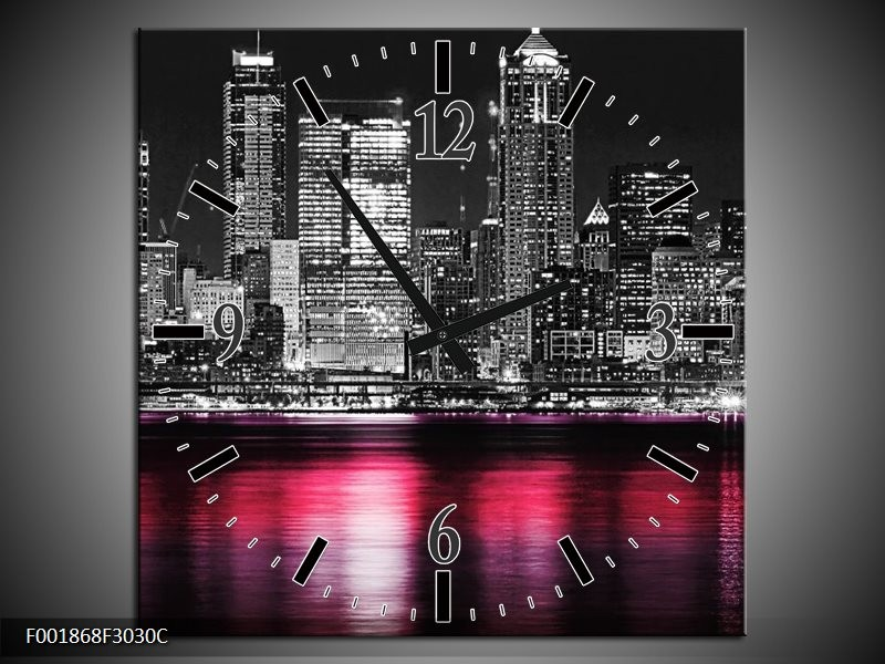 Wandklok op Canvas New York | Kleur: Zwart, Wit, Roze | F001868C