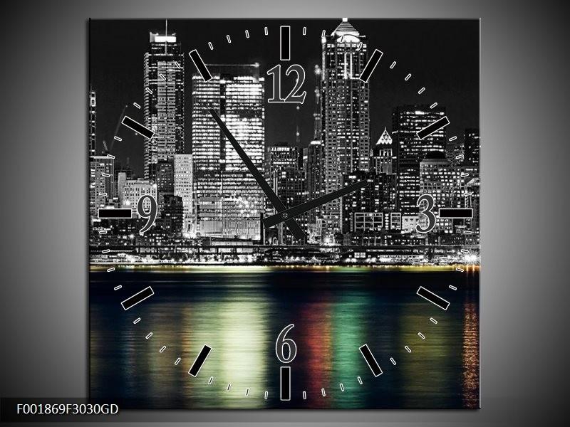 Wandklok op Glas New York | Kleur: Zwart, Wit, Geel | F001869CGD