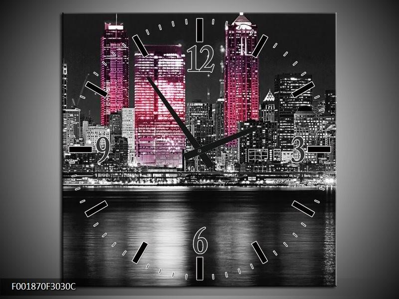 Wandklok op Canvas New York | Kleur: Zwart, Wit, Roze | F001870C