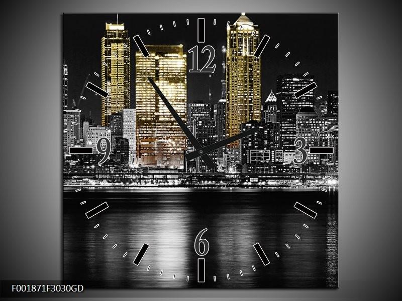 Wandklok op Glas New York | Kleur: Zwart, Wit, Geel | F001871CGD