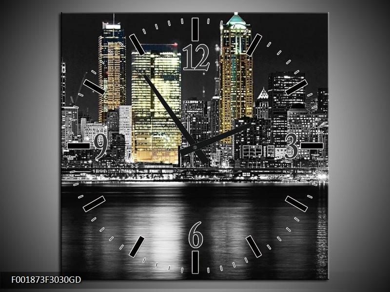 Wandklok op Glas New York | Kleur: Zwart, Wit, Geel | F001873CGD