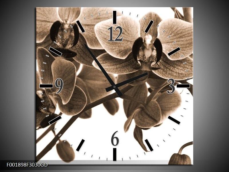 Wandklok op Glas Orchidee | Kleur: Sepia, Bruin | F001898CGD