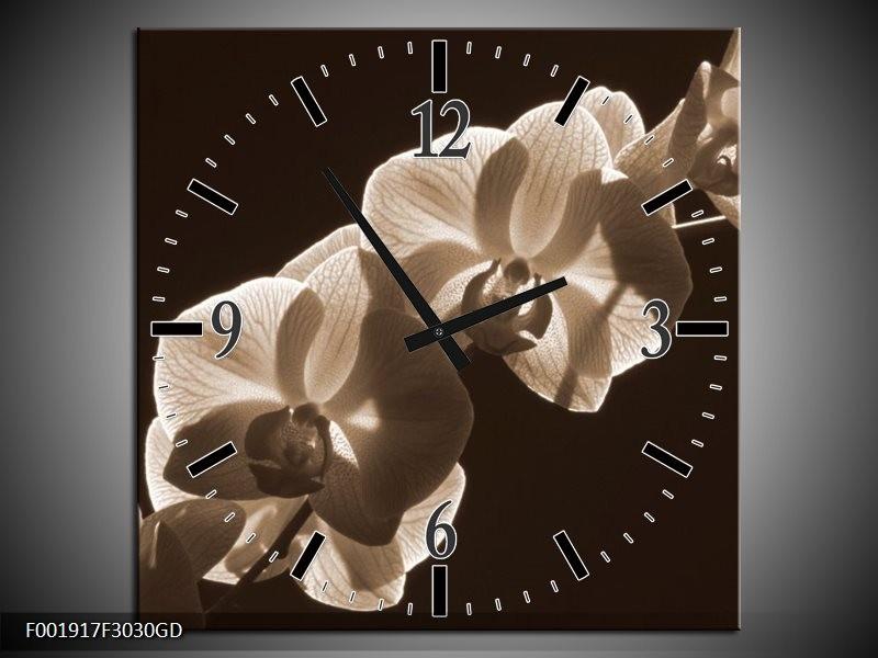 Wandklok op Glas Orchidee | Kleur: Sepia, Bruin | F001917CGD