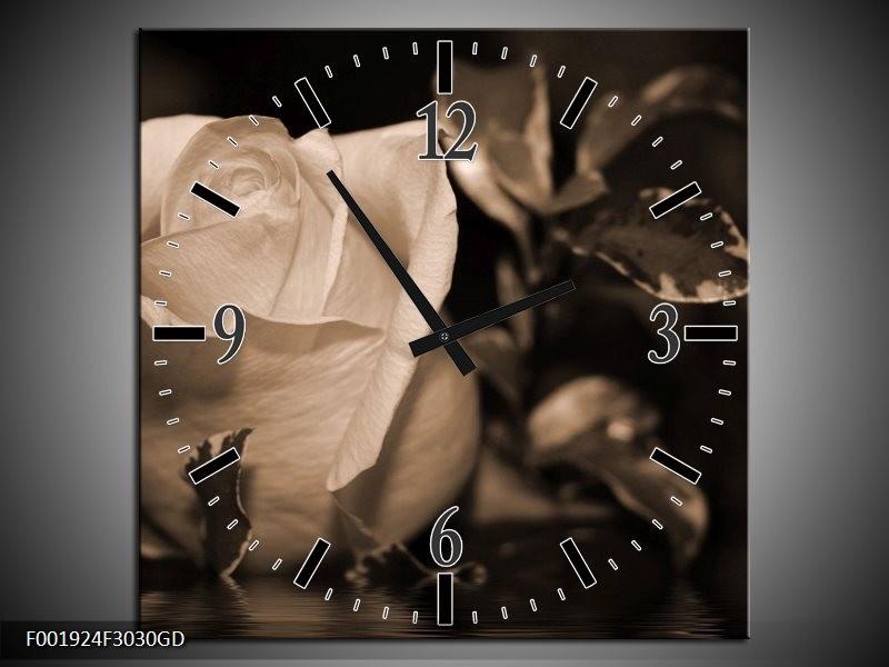 Wandklok op Glas Roos | Kleur: Sepia, Bruin | F001924CGD