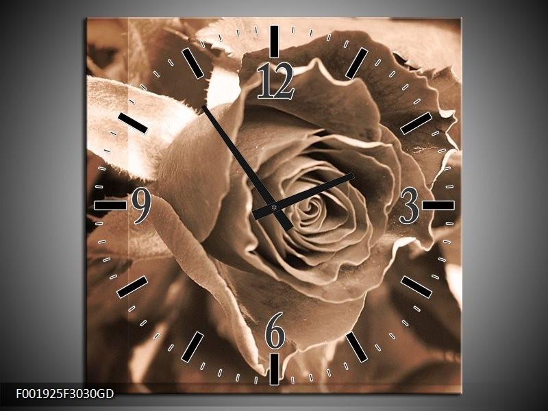 Wandklok op Glas Roos | Kleur: Sepia, Bruin | F001925CGD