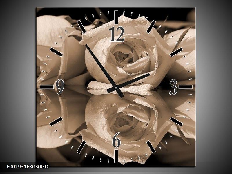 Wandklok op Glas Roos | Kleur: Sepia, Bruin | F001931CGD