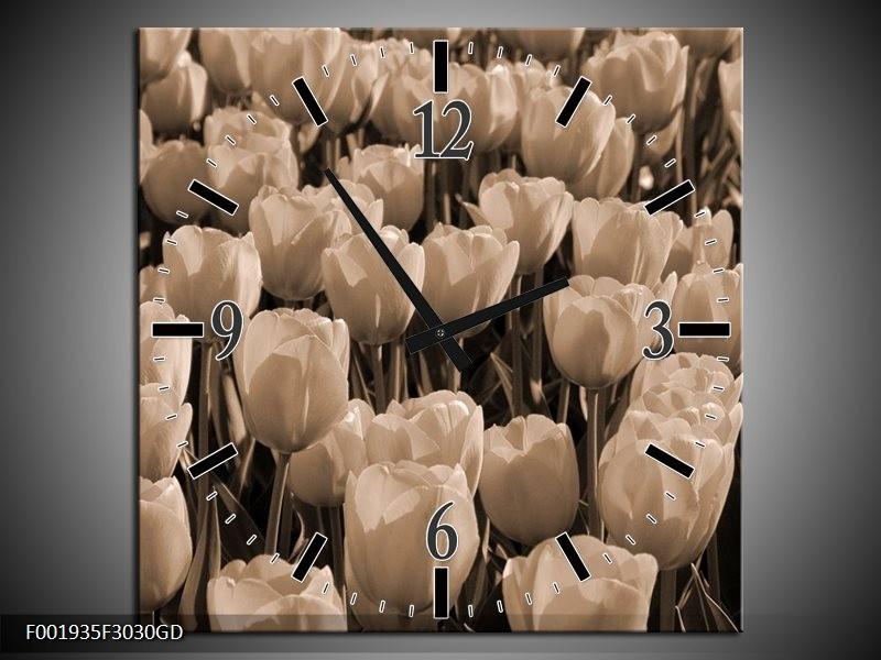Wandklok op Glas Tulpen   Kleur: Sepia, Bruin   F001935CGD