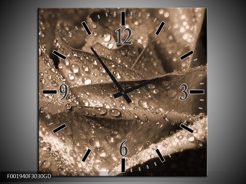 Wandklok op Glas Roos | Kleur: Sepia | F001940CGD