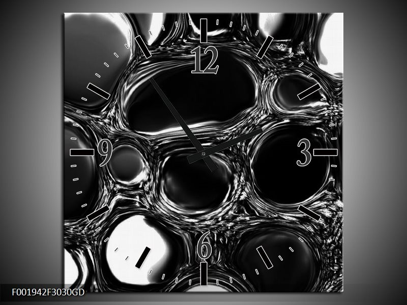 Wandklok op Glas Druppels | Kleur: Zwart, Wit | F001942CGD