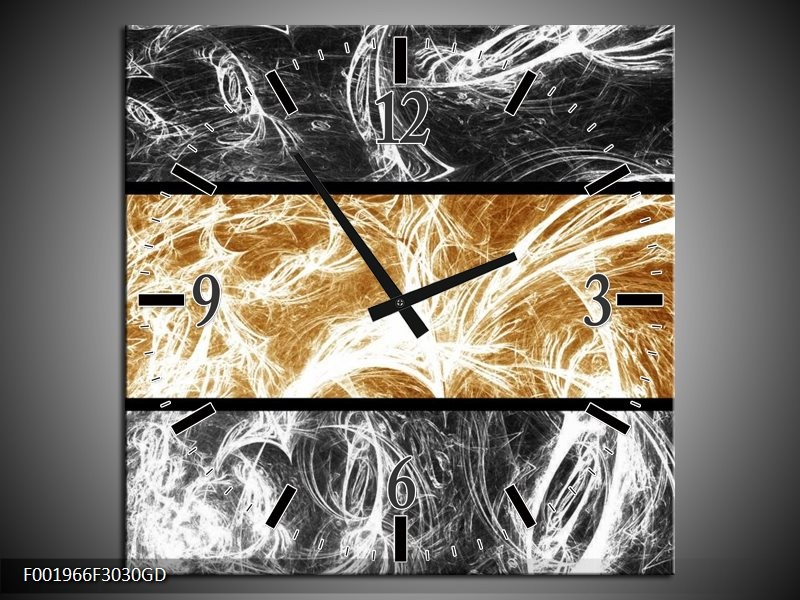 Wandklok op Glas Abstract   Kleur: Sepia, Bruin   F001966CGD
