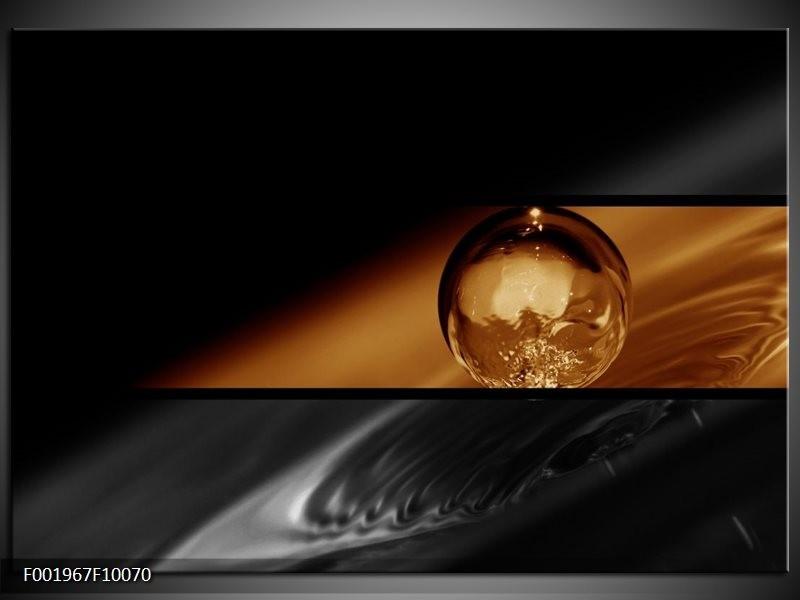 Glas schilderij Druppels | Sepia, Bruin