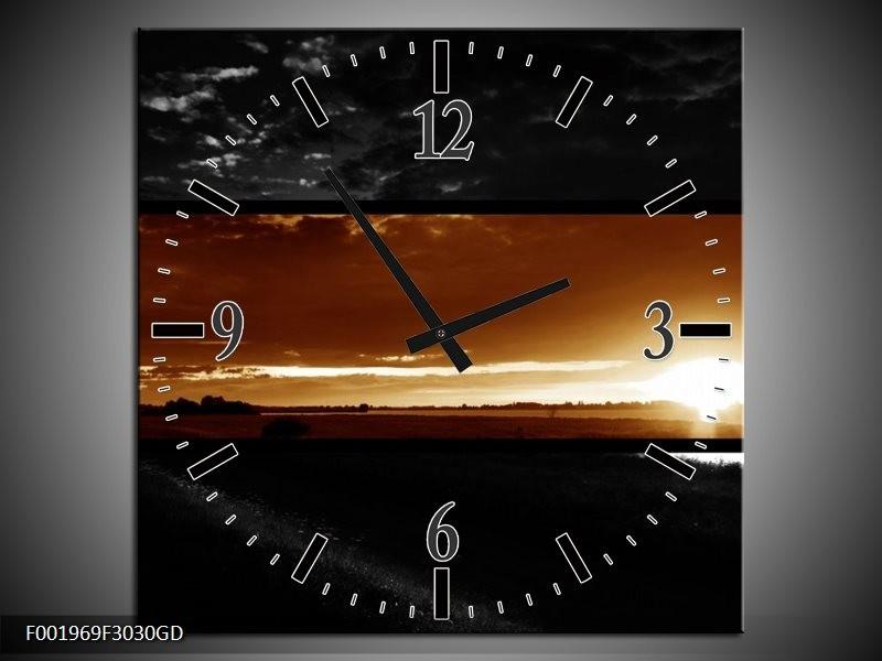 Wandklok op Glas Zonsondergang | Kleur: Sepia, Bruin | F001969CGD