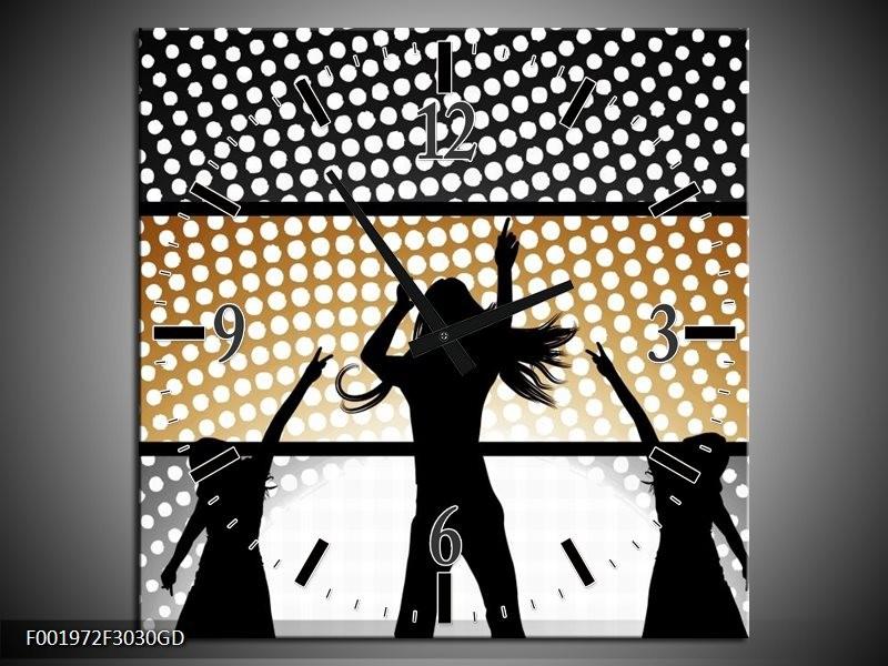 Wandklok op Glas Muziek   Kleur: Sepia, Bruin   F001972CGD