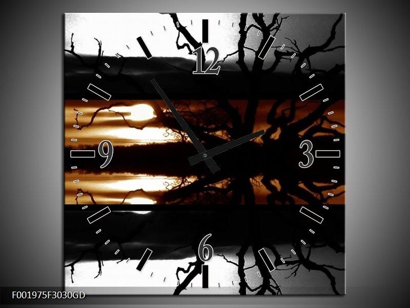 Wandklok op Glas Bomen | Kleur: Sepia, Bruin | F001975CGD