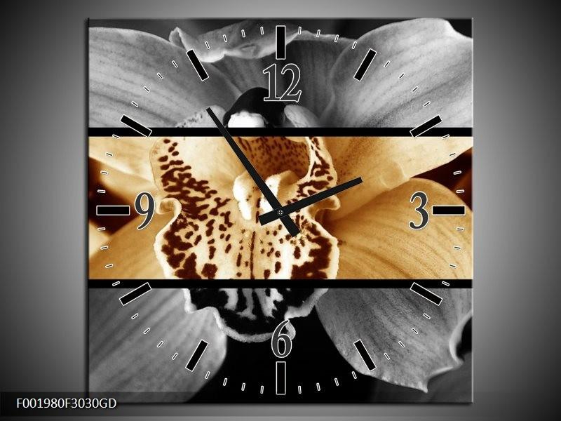 Wandklok op Glas Orchidee   Kleur: Sepia, Bruin   F001980CGD