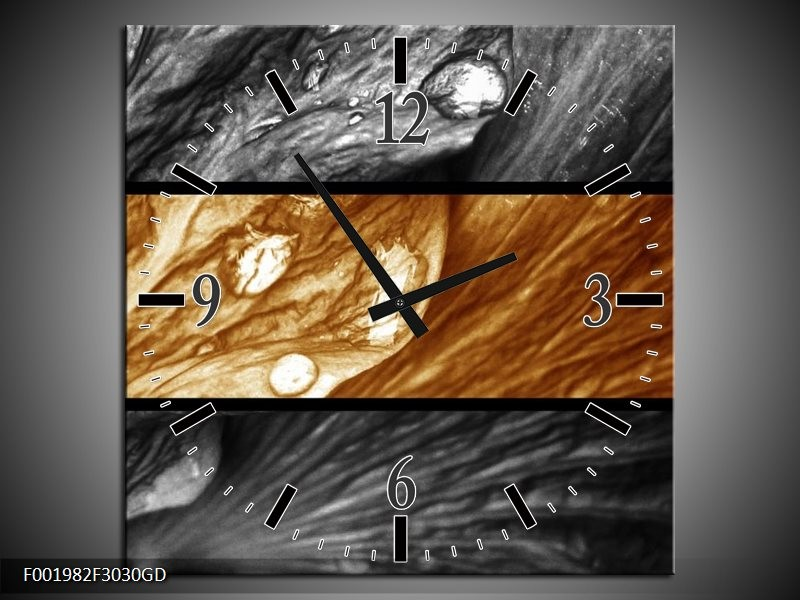 Wandklok op Glas Tulpen | Kleur: Sepia, Bruin | F001982CGD