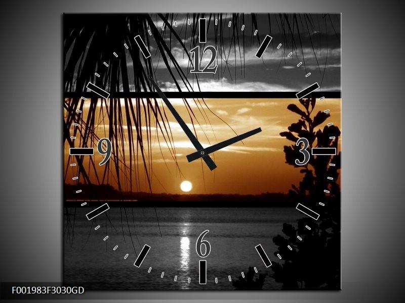 Wandklok op Glas Zonsondergang | Kleur: Sepia, Bruin | F001983CGD