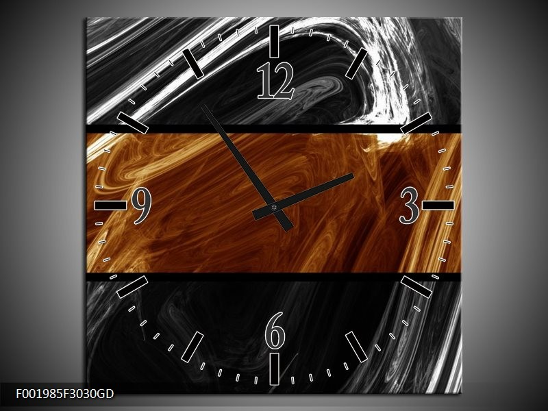 Wandklok op Glas Abstract | Kleur: Sepia, Bruin | F001985CGD