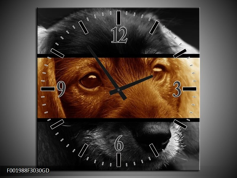 Wandklok op Glas Hond | Kleur: Sepia, Bruin | F001988CGD