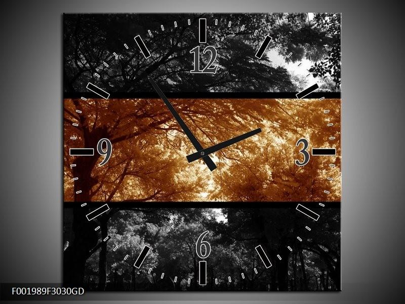 Wandklok op Glas Natuur | Kleur: Sepia, Bruin | F001989CGD