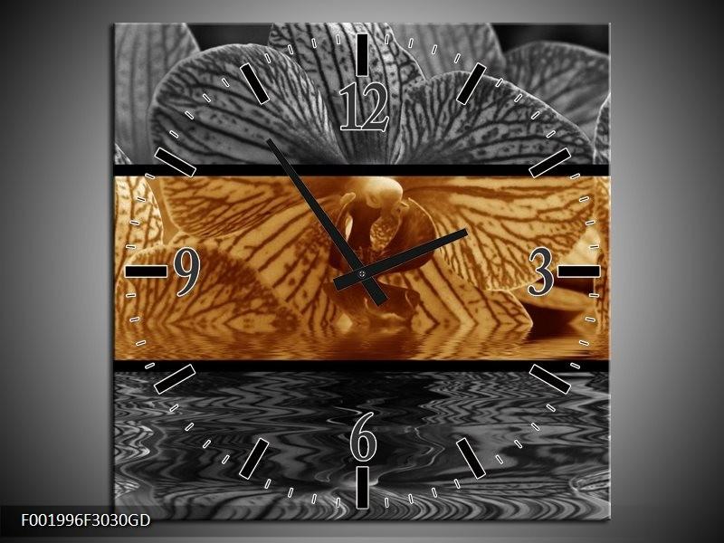 Wandklok op Glas Orchidee | Kleur: Sepia, Bruin | F001996CGD