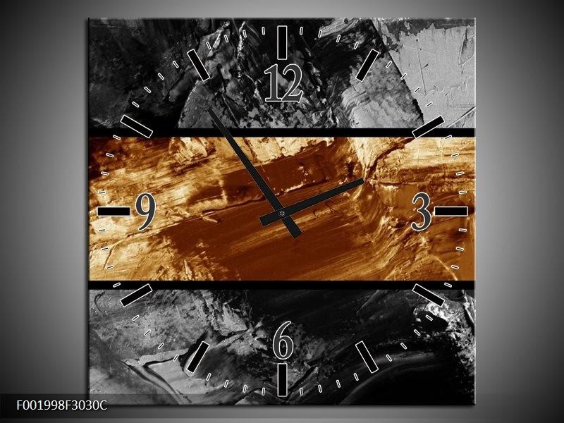 Wandklok op Canvas Abstract | Kleur: Sepia, Bruin | F001998C
