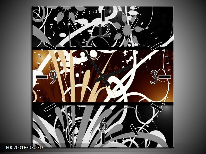 Wandklok op Glas Abstract   Kleur: Sepia, Bruin   F002001CGD