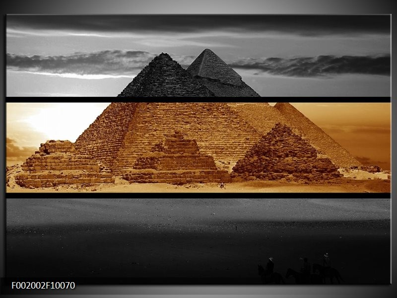 Foto canvas schilderij Piramide   Sepia, Bruin