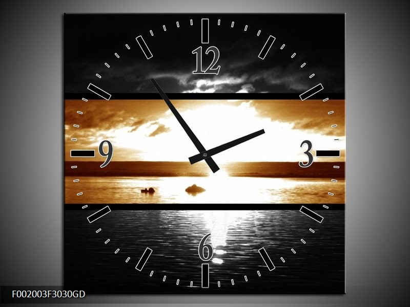 Wandklok op Glas Zonsondergang   Kleur: Sepia, Bruin   F002003CGD