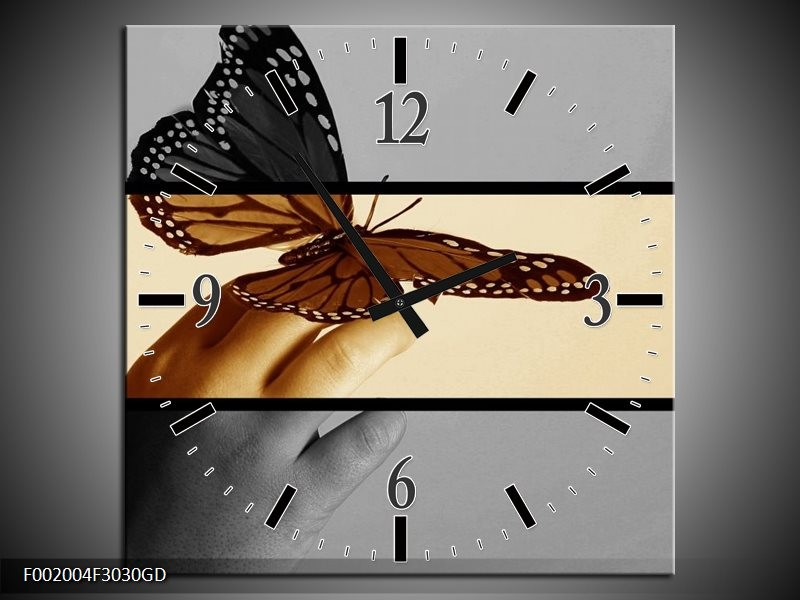 Wandklok op Glas Vlinder | Kleur: Sepia, Bruin | F002004CGD