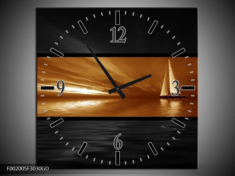 Wandklok op Glas Boot | Kleur: Sepia, Bruin | F002005CGD