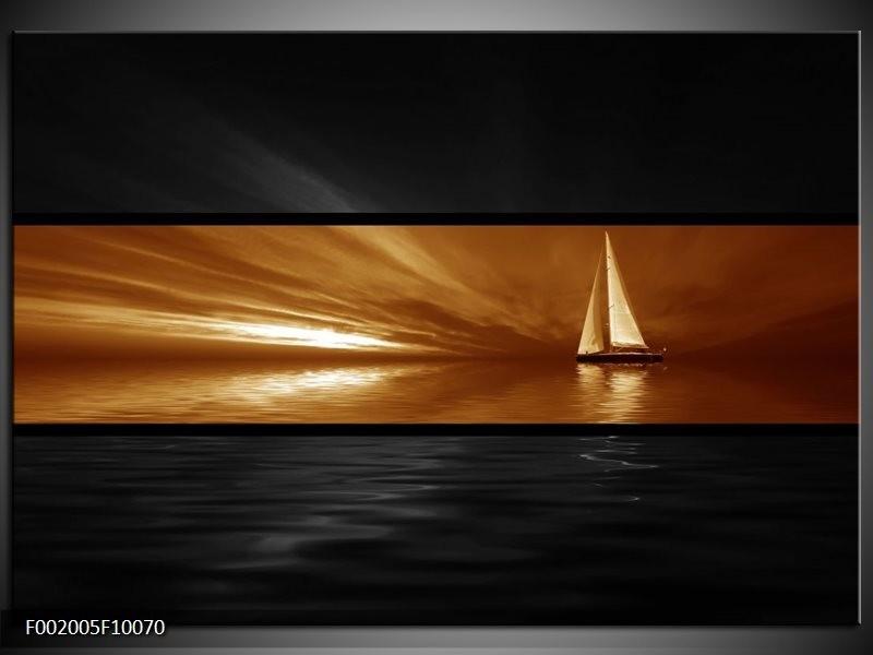 Glas schilderij Boot   Sepia, Bruin