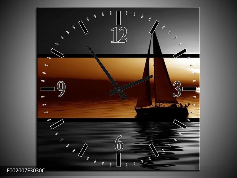 Wandklok op Canvas Boot   Kleur: Sepia, Bruin   F002007C