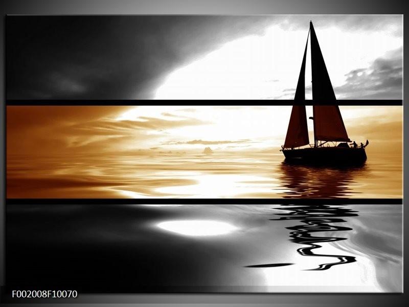 Foto canvas schilderij Boot | Sepia, Bruin